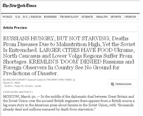 Image result for walter duranty new york times famine ukraine